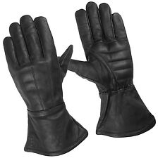 Mens lined Gauntlet Motorcycle Gloves Water Resistant Leather