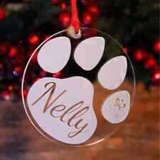 Personalised Paw Print Christmas Tree Decoration | Engraved Bauble Gift