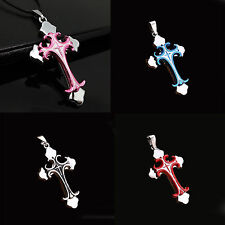 New Unisex Blue Silver Stainless Steel Cross Charm Pendant Necklace Chain Gift