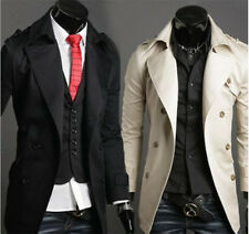 Stylish Mens Coat Casual Double-Breasted Lapel Collar Trench Coat Jacket