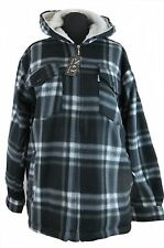 Leisure Work- and Lumberjack jacket Hooded Fleece black gray checkered M-XXXL