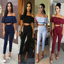Sexy Women Celebrity 2Pieces Bandage Long Bodycon Jumpsuits Playsuits Rompers