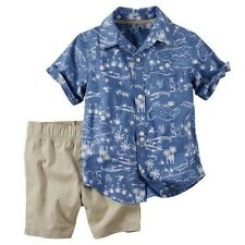 Carters Printed Short Sleeve Shirt Khaki Shorts Baby Boy 3 6 9 12 18 24 Months