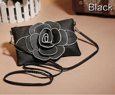 New Womens Girls PU Leather Rose Floral Clutch Small Bag Shoulder Party Handbag
