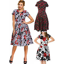 Women 1950s Style Red Floral Short Sleeves Swing Dress Stage Dance Cute Zip
