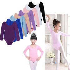White Long Sleeve Dance Skating Gymnastics Leotard for Kids Girls Size 3-12