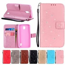 Butterfly Pattern Diamond PU Leather Case Wallet Card Stand Cover For Samsung