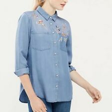 New Womens Blue Floral Embroidered Long Sleeve Denim Jeans Blouse Tops Shirt
