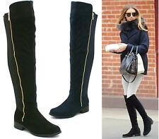 LADIES WOMENS FLAT WIDE LEG STRETCH CALF OVER KNEE THIGH HIGH CHELSEA BOOTS SIZE