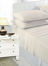 Cream Plain Fitted Sheet PolyCotton Bedding Single Double King Mattress Cover