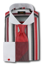 Dress Shirt Steven Land - Cutaway Spread Collar | French Cuff- Red -DW603-RD