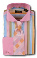 Dress Shirt Steven Land Cutaway Spread Collar French Cuffs- Multi Color-DW603-MU