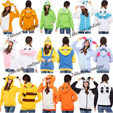 Anime Pokemon Pikachu Hoodie Jacket Ears Cosplay Zip Sweatshirt Hoodies Top Coat