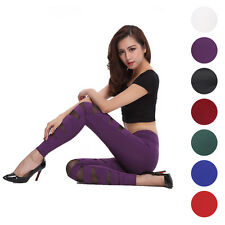 Stretch Sexy Women Bandage Cross Strap Mesh Pants Tight Leggings Long Trousers