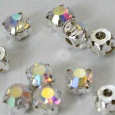 loose sew on craft bead CLEAR diamante rhinestone crystal chaton SILVER A Grade