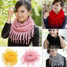 New Women Warm Infinity 2 Circle Cable Knit Cowl Neck Long Tassel Scarf Shawl fd