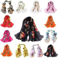 Women Ladies Chiffon Silk Flowers Long Soft Neck Scarf Shawl Wrap Scarves NEW UJ
