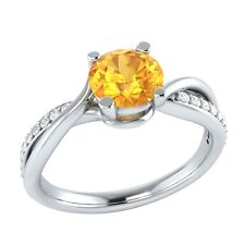 0.70 ct Natural Orange Citrine & Certified Diamond Solid Gold Engagement Ring
