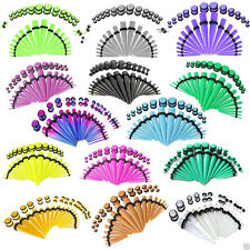 36pc Acrylic Tapers Plugs Double O-Rings Ear Gauges Stretching Kit Punk 14G-00G