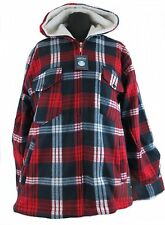 Leisure Work- and Lumberjack jacket Hooded Fleece red blue checkered M - XXXL