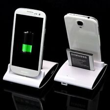 OTG USB Sync Dual Battery Charger Cradle Dock Stand Fr Samsung S3 i9300 S4 i9500