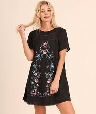 Umgee BLACK Dress Size S M L Floral Embroidery Boho A Line Peasant Tunic Hippie