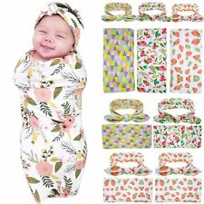 2PCS Infant Newborn Baby Floral Swaddle Knit Blanket & Bow Headband Blanket Wrap