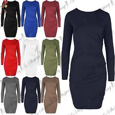 Ladies Womens Long Sleeve Side Ruched Draped Stretch Fitted Bodycon Mini Dress