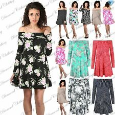 Womens Ladies Floral Polka Dot 50's Style Bardot Off Shoulder Swing Dress Top