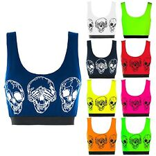 Ladies Womens Stretch Sleeveless Bralet Bra 3 Skulls Cropped Cropped Vest Top