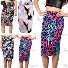 Women Ladies Pencil Fitted Floral Bodycon Wiggle Tube Midi High Waisted Skirt