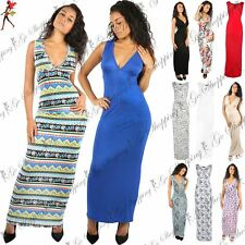 Ladies Womens Plunge V Neck Printed Sleeveless Long Ruched Vest Top Maxi Dress