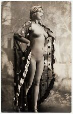 1910 ORIGINAL FRENCH EROTIC RPPC NUDE GIRL FLAMENGO VEILED BEAUTY