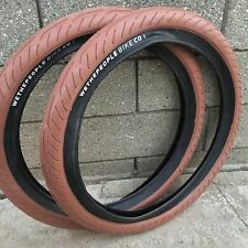1 PAIR WE THE PEOPLE TIRES 20 X 2.40 GUM W/ BLACK BMX BIKE TIRE FIT CULT SHADOW