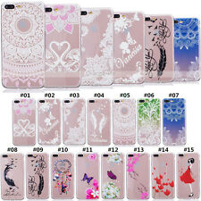 Crystal Clear TPU Slim Painted Silicone Soft Back Case Cover For Apple Samsung