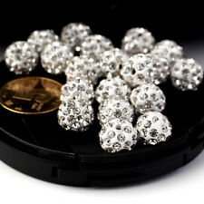 10/20Pcs Fashion Crystal Rhinestones Pave Clay Round Disco Ball Spacer Beads
