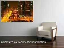 Canvas Print Picture Chicago Skyline Night / Stretched ready to hang