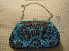 Moyna Small Frame Clutch Turquoise Blue & Bronze Beaded Evening Bag NWT
