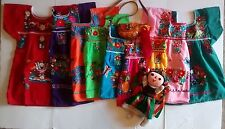 GIRLS PEASANT EMBROIDERED  MEXICAN DRESS ASSORTED COLORS 3M-3T