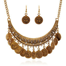 Boho Style Ethnic Vintage Coin Choker Necklace Earrings Set Vintage Carved