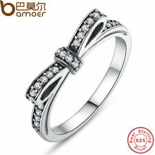 AUTHENTIC 925 STERLING SILVER BOW STACKABLE RING CZ WOMEN WEDDING JEWELRY PA7104