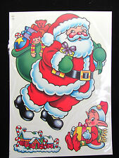 Vintage Set of Static Cling Christmas Window Decorations - 12 pages + Snowflakes