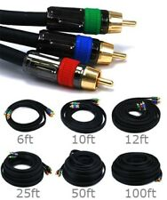 12ft 25ft 50ft 100ft 3 RCA RGB YPbPr Component Video Coax Cable RG-6U 18AWG CL2