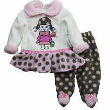 NWT Koala Baby Girls Warm Fleece Shirt Footed Pants Outfit Size NB 3 6 9 months