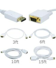 3ft 6ft 10ft 15ft DisplayPort Male to VGA Male Adapter Cable 28AWG Gold Plated