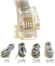 7ft 14ft 25ft 50ft Phone Cable for Voice RJ11 REVERSE (6P4C) 4 Conductor Flat