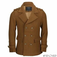 Mens Tan Camel Retro Double Breasted Jacket Slim Fit Smart Casual Short Pea coat