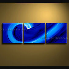 Handmade Triptych Contemporary Wall Art Seascape Painting Ready To Hang