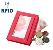 Men Leather RFID Credit Card Money Clip Wallet ID Window Zipper Coin Holder