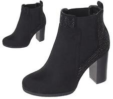 WOMENS LADIES COWBOY STYLE HIGH BLOCK HEEL DIAMANTE ANKLE BOOTS SHOES SIZE